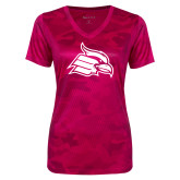 Ladies Pink Raspberry Camohex Performance Tee-Cardinal