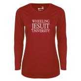 Ladies Syntrel Performance Cardinal Longsleeve Shirt-Wheeling Jesuit University