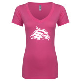 Next Level Ladies Junior Fit Ideal V Pink Tee-Cardinal