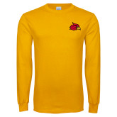Gold Long Sleeve T Shirt-Cardinal