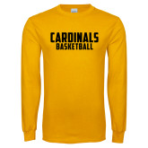 Gold Long Sleeve T Shirt-Basketball