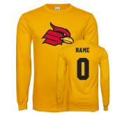 Gold Long Sleeve T Shirt-Cardinal, Custom Tee w/ Name and #