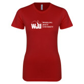 Next Level Ladies SoftStyle Junior Fitted Cardinal Tee-WJU