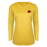 Ladies Syntrel Performance Gold Longsleeve Shirt-Cardinal