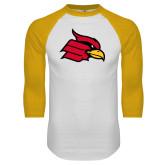 White/Gold Raglan Baseball T Shirt-Cardinal