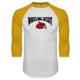 White/Gold Raglan Baseball T Shirt-Wheeling Jesuit