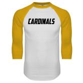 White/Gold Raglan Baseball T Shirt-Cardinals