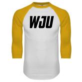White/Gold Raglan Baseball T Shirt-WJU