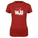 Ladies Syntrel Performance Cardinal Tee-WJU