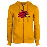 ENZA Ladies Gold Fleece Full Zip Hoodie-Cardinal