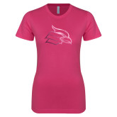 Ladies SoftStyle Junior Fitted Fuchsia Tee-Cardinal  Foil