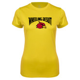 Ladies Syntrel Performance Gold Tee-Wheeling Jesuit
