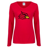 Ladies Red Long Sleeve V Neck T Shirt-Primary Mark