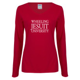 Ladies Cardinal Long Sleeve V Neck Tee-Wheeling Jesuit University