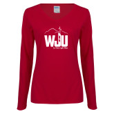 Ladies Cardinal Long Sleeve V Neck Tee-WJU