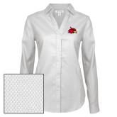 Ladies Red House Diamond Dobby White Long Sleeve Shirt-Cardinal