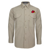 Khaki Long Sleeve Performance Fishing Shirt-Cardinal