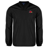 V Neck Black Raglan Windshirt-Cardinal