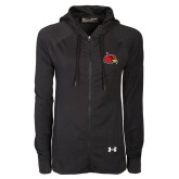 Ladies Under Armour Black Varsity Full Zip Hoodie-Cardinal