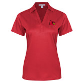 Ladies Red Performance Fine Jacquard Polo-Cardinal