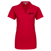 Ladies Red Dry Zone Grid Polo-Wheeling Jesuit