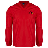 V Neck Red Raglan Windshirt-Cardinal