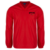 V Neck Red Raglan Windshirt-Wheeling Jesuit