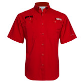 Columbia Tamiami Performance Red Short Sleeve Shirt-Wheeling Jesuit