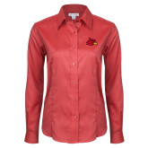 Ladies Red House Red Long Sleeve Shirt-Cardinal