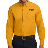 Gold Twill Button Down Long Sleeve-Wheeling Jesuit