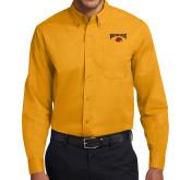 Gold Twill Button Down Long Sleeve-Wheeling Jesuit