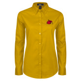 Ladies Gold Twill Button Down Long Sleeve-Cardinal