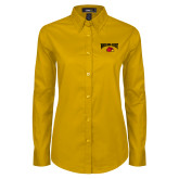 Ladies Gold Twill Button Down Long Sleeve-Wheeling Jesuit