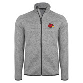 Grey Heather Fleece Jacket-Cardinal
