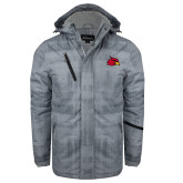 Grey Brushstroke Print Insulated Jacket-Cardinal
