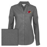 Ladies Red House Diamond Dobby Charcoal Long Sleeve Shirt-Cardinal