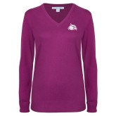 Ladies Deep Berry V Neck Sweater-Cardinal