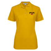 Ladies Easycare Gold Pique Polo-Wheeling Jesuit