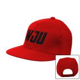 Red Flat Bill Snapback Hat-WJU