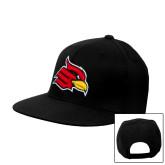Black Flat Bill Snapback Hat-Cardinal
