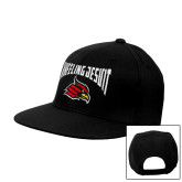 Black Flat Bill Snapback Hat-Wheeling Jesuit