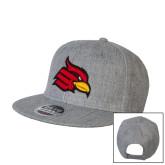 Heather Grey Wool Blend Flat Bill Snapback Hat-Cardinal