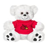 Plush Big Paw 8 1/2 inch White Bear w/Red Shirt-Cardinal
