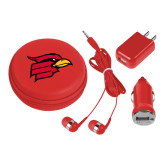 3 in 1 Red Audio Travel Kit-Cardinal