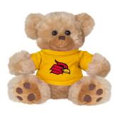 Plush Big Paw 8 1/2 inch Brown Bear w/Gold Shirt-Cardinal