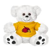 Plush Big Paw 8 1/2 inch White Bear w/Gold Shirt-Cardinal