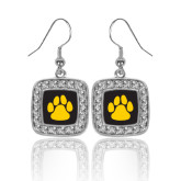 Crystal Studded Square Pendant Silver Dangle Earrings-Paw