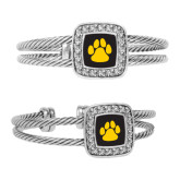 Crystal Studded Cable Cuff Bracelet With Square Pendant-Paw