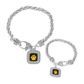 Silver Braided Rope Bracelet With Crystal Studded Square Pendant-Paw