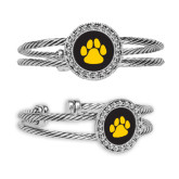 Crystal Studded Cable Cuff Bracelet with Round Pendant-Paw